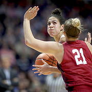 UNCASVILLE, CONNECTICUT- DECEMBER 19:  Kia Nurse #11 of the Connecticut Huskies looks to shoot while defended by Gabbi Ortiz #21 of the Oklahoma Sooners during the Naismith Basketball Hall of Fame Holiday Showcase game between the UConn Huskies Vs Oklahoma Sooners, NCAA Women's Basketball game at the Mohegan Sun Arena, Uncasville, Connecticut. December 19, 2017 (Photo by Tim Clayton/Corbis via Getty Images)