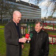 Paul O'Connell and JP McManus with the new TLC cups at the Hunt Museum, Limerick, ahead of Team Limerick Clean-Up 5, which will see thousands of volunteers take to the streets of Limerick city and county for Europe's largest one-day clean up. Sponsored by the JP McManus Benevolent Fund, the event has seen over 360 tonnes of litter gathered from the streets since inception in 2015. Over 14,000 volunteers have already signed up for the 2019 event, taking place on Good Friday, 19th April. <br /> Photo by Diarmuid Greene