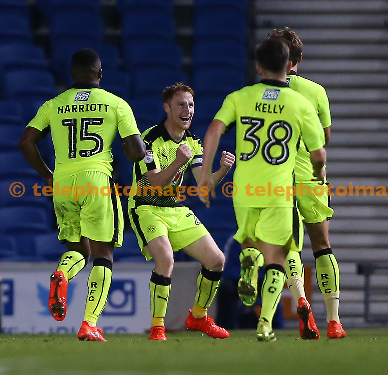 Readings captain Stephen Quinn celebrates with goal scorer John Swift of Reading  during the EFL Cup match between Brighton and Hove Albion and Reading at the American Express Community Stadium in Brighton and Hove. September 20, 2016.<br /> James Boardman / Telephoto Images<br /> +44 7967 642437
