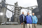 SHOT 10/29/18 9:44:28 AM - Sunrise Cooperative is a leading agricultural and energy cooperative based in Fremont, Ohio with members spanning from the Ohio River to Lake Erie. Sunrise is 100-percent farmer-owned and was formed through the merger of Trupointe Cooperative and Sunrise Cooperative on September 1, 2016. Photographed at the Clyde, Ohio grain elevator was George D. Secor President / CEO and John Lowry<br /> Chairman of the Board of Directors with  CoBank RM Gary Weidenborner. (Photo by Marc Piscotty © 2018)