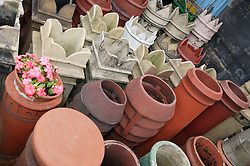 Old chimneypots for sale at reclamation yard,