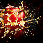 Apple exploding with splashes of apple juice Ray Massey is an established, award winning, UK professional  photographer, shooting creative advertising and editorial images from his stunning studio in a converted church in Camden Town, London NW1. Ray Massey specialises in drinks and liquids, still life and hands, product, gymnastics, special effects (sfx) and location photography. He is particularly known for dynamic high speed action shots of pours, bubbles, splashes and explosions in beers, champagnes, sodas, cocktails and beverages of all descriptions, as well as perfumes, paint, ink, water – even ice! Ray Massey works throughout the world with advertising agencies, designers, design groups, PR companies and directly with clients. He regularly manages the entire creative process, including post-production composition, manipulation and retouching, working with his team of retouchers to produce final images ready for publication.