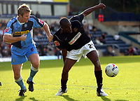 Photo: Frances Leader.<br />Wycombe Wanderers v Chester City. Coca Cola League 2.<br />01/10/2005.<br /><br />l-r - Wycombe's Mike Williamson and Chester's Marcus Richardson.