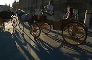 Horse carriage - Cathedral - SEVILLE - Seville province - Andalusia region - Spain. Route by train after the steps of Washington Irving, romantic American writer who travelled in 1829 from Seville to Granada, where he wrote 'Tales of the Alhambra'. Fascinated by the wealth and exoticism of the Spanish-Muslim civilization, Irving was responsible, along with the French writers of the 19th century, for the romantic image of Al-Andalus. Alberto Paredes / 4SEE