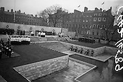 11/04/1966<br /> 04/11/1966<br /> 11 April 1966<br /> 1916 Jubilee Commemorations- Opening and Blessing Ceremony at the Garden of Remembrance, Parnell Square, Dublin. Image shows a part of the blessing of the Garden and the ceremony. Note guard of honour standing on wall.