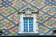 Traditional polychrome roof tiles of Hotel de Vogue in Rue de la Chouette in Dijon in the Burgundy region of France