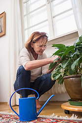 Senior woman looks at plant, watering can in the foreground, Munich, Bavaria, Germany