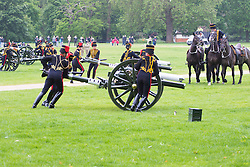 Hyde Park, London, June 2nd 2016. Soldiers and guns of the King's Troop Royal Horse Artillery fire a 41 round Royal Salute to mark the 63rd anniversary of the coronation of Britain's Monarch HM Queen Elizabeth II. PICTURED: The guns, drawn in by mounted troops are positioned.