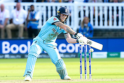 Ben Stokes of England goes on the attack in the super over - Mandatory by-line: Robbie Stephenson/JMP - 14/07/2019 - CRICKET - Lords - London, England - England v New Zealand - ICC Cricket World Cup 2019 - Final