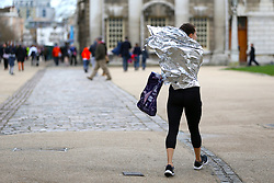 A competitor in the wind after the the Vitality Big Half in London.
