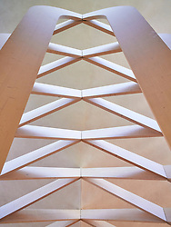 Detail of the roof structure at Bishop Edward King Chapel in Ripon College, Oxford, designed by Niall McLaughlin.<br /> Oxford, UK