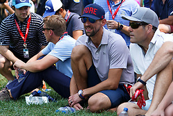 August 12, 2018 - St. Louis, Missouri, United States - Olympian swimmer Michael Phelps (L) watches Tiger Woods during the final round of the 100th PGA Championship at Bellerive Country Club. (Credit Image: © Debby Wong via ZUMA Wire)