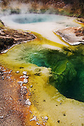 Steam rises from a colorful thermal pool at West Thumb Geyser Basin, Yellowstone, Wyoming. The colors along the edge come from thermophilic bacteria.