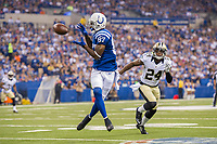 August 23, 2014: Indianapolis Colts wide receiver Reggie Wayne (87) catches his first pass in front of New Orleans Saints cornerback Corey White (24) during a week 3 preseason football game between the Indianapolis Colts vs New Orleans Saints at Lucas Oil Stadium in Indianapolis, IN. NFL American Football Herren USA AUG 23 Preseason - Saints at Colts PUBLICATIONxINxGERxSUIxAUTxHUNxRUSxSWExNORxONLY Icon1408230554<br /> <br /> August 23 2014 Indianapolis Colts Wide Receiver Reggie Wayne 87 catches His First Passport in Front of New Orleans Saints Cornerback Corey White 24 during A Week 3 Preseason Football Game between The Indianapolis Colts vs New Orleans Saints AT Lucas Oil Stage in Indianapolis in NFL American Football men USA Aug 23 Preseason Saints AT Colts PUBLICATIONxINxGERxSUIxAUTxHUNxRUSxSWExNORxONLY