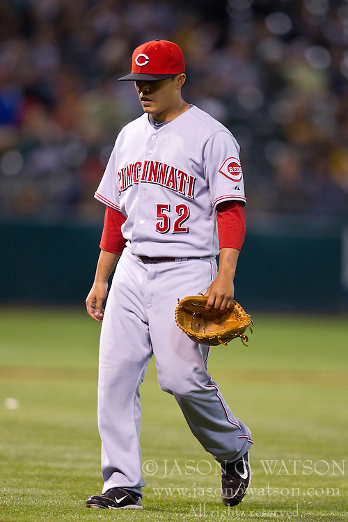 June 21, 2010; Oakland, CA, USA;  Cincinnati Reds relief pitcher Danny Herrera (52) is relieved during the tenth inning against the Oakland Athletics at Oakland-Alameda County Coliseum. Cincinnati defeated Oakland 6-4 in 10 innings.