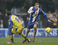 Photo: Lee Earle.<br /> Torquay United v Hartlepool United. Coca Cola League 2. 17/02/2007.Hartlepool's Gary Liddle (R) sprints away from Jamal Easter.