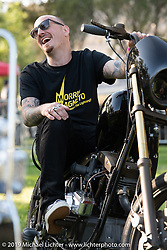 Chris Graves after being invited to Japan with his custom Shovelhead by Shige Suganuma of Mooneyes at the Born Free chopper show. Silverado, CA. USA. Sunday June 24, 2018. Photography ©2018 Michael Lichter.