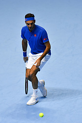 November 15, 2018 - London, England, United Kingdom - Roger Federer of Switzerland returns the ball during his round robin match against Kevin Anderson of South Africa during Day Five of the Nitto ATP Finals at The O2 Arena on November 15, 2018 in London, England. (Credit Image: © Alberto Pezzali/NurPhoto via ZUMA Press)