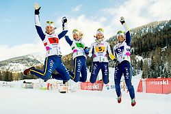 February 3, 2018 - Goms, SWITZERLAND - 180203 Tua Dahlgren, Alicia Persson, Frida Karlsson and Johanna HagstrÅ¡m of Sweden pose with the bronze medals after coming third in the women's 4x3,3 km relay during the FIS Nordic Junior World Ski Championships on February 3, 2018 in Obergoms..Photo: Vegard Wivestad GrÂ¿tt / BILDBYRN / kod VG / 170098 (Credit Image: © Vegard Wivestad Gr¯Tt/Bildbyran via ZUMA Press)