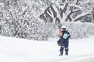 Middletown, New York - A mail carrier delivers the mail during a snowstorm on Feb. 9, 2017.