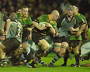 Photo Peter Spurrier<br /> 07/12/2002<br /> European Rugby - Heineken Cup Northamton vs Cardiff.<br /> Saints Robbie Morris breaks through with the ball.