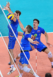 Miha Plot #8, Tine Urnaut #17, Danijel Koncilja #11 during volleyball match between National teams of Poland and Slovenia in Quarterfinals of 2015 CEV Volleyball European Championship - Men, on October 14, 2015 in Arena Armeec, Sofia, Bulgaria. Photo by Ronald Hoogendoorn / Sportida