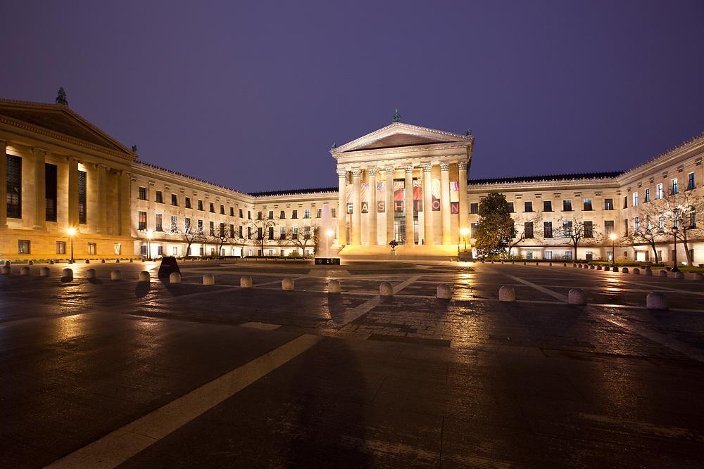 Philadelphia, Pennsylvania, United States - Night view of the facade of the Philadelphia Museum of Art.