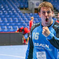 Handball, 31. Spieltag: MT Melsungen vs Die Eulen Ludwigshafen am 27.05.2021 in der Rothenbach-Halle in Kassel<br /> <br /> <br /> Torwart Nebojsa Simic (Melsungen 16) freut sich über den Sieg und jubelt beim Spiel in der Handball Bundesliga, MT Melsungen - Die Eulen Ludwigshafen.<br /> <br /> Foto © PIX-Sportfotos *** Foto ist honorarpflichtig! *** Auf Anfrage in hoeherer Qualitaet/Aufloesung. Belegexemplar erbeten. Veroeffentlichung ausschliesslich fuer journalistisch-publizistische Zwecke. For editorial use only.