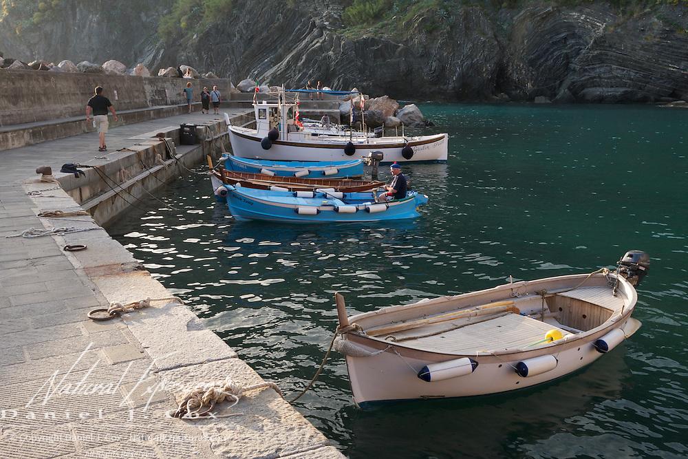 Fishing boats in the seaside village of Riomaggiore, Italy