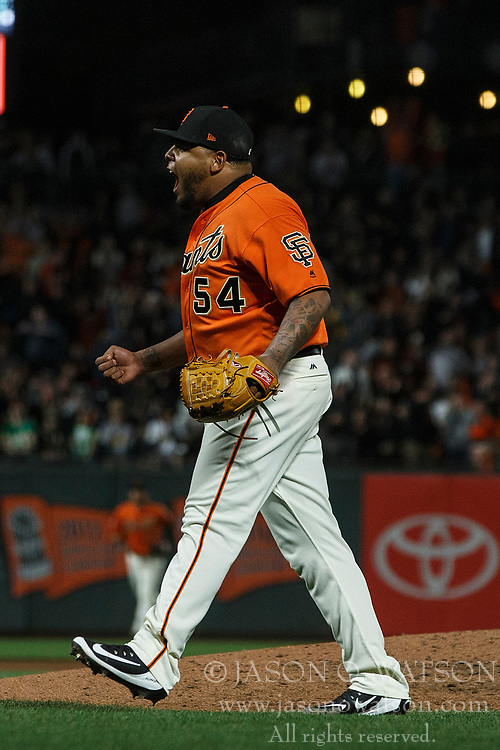 SAN FRANCISCO, CA - JULY 13: Reyes Moronta #54 of the San Francisco Giants celebrates during the seventh inning against the Oakland Athletics at AT&T Park on July 13, 2018 in San Francisco, California. The San Francisco Giants defeated the Oakland Athletics 7-1. (Photo by Jason O. Watson/Getty Images) *** Local Caption *** Reyes Moronta