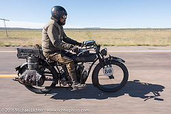 Shinya Kimura riding his 1915 Indian during the Motorcycle Cannonball Race of the Century. Stage-13 ride from Williams, AZ to Lake Havasu CIty, AZ. USA. Friday September 23, 2016. Photography ©2016 Michael Lichter.