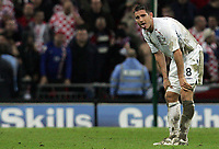 Photo: Paul Thomas/Sportsbeat Images.<br />England v Croatia. UEFA European Championships Qualifying. 21/11/2007.<br /><br />Dejected Frank Lampard of England.