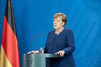 20 MAY 2020, BERLIN/GERMANY:<br /> Angela Merkel, CDU, Budneskanzlerin, gibt ein Pressestatement zur vorangegangenen Videokonferenz mit den mit den Vorsitzenden internationaler Wirtschafts- und <br /> Finanzorganisationen, Bundeskanzleramt<br /> IMAGE: 20200520-01-007<br /> KEYWORDS: Pressekonferenz
