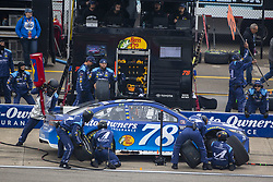 June 10, 2018 - Brooklyn, Michigan, United States of America - Martin Truex, Jr (78) makes a pit stop during the FireKeepers Casino 400 at Michigan International Speedway in Brooklyn, Michigan. (Credit Image: © Stephen A. Arce/ASP via ZUMA Wire)
