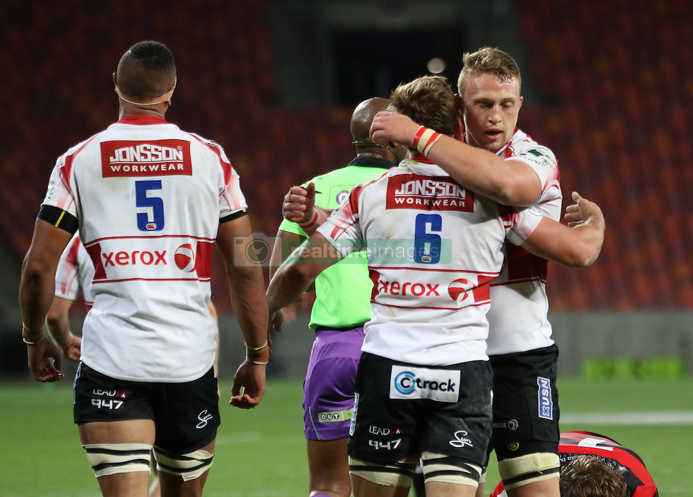 Teammate congratulate Kwagga Smith of Golden Lions on one of hie tries during the Currie Cup Premier Division match between the Eastern Province Kings and The Lions held at the Nelson Mandela Bay Stadium in Port Elizabeth, South Africa on the 24th September 2016<br /><br />Photo by: Richard Huggard / Real Time Images