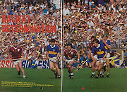 All Ireland Senior Hurling Championship Final, .06.09.1987, 09.06.1987, 6th September 1987, .Kilkenny v Galway, .Galway 1-12, Kilkenny 0-9,.06091987AISHCF, .Senior Kilkenny v Galway,.Minor Tipperary v Offaly,..PJ Molloy in the semi-final, left to right Steve Mahon, Joe Hayes, PJ Molloy, John Kennedy, Colm Bonnar,