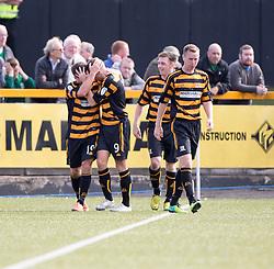 Alloa Athletic's Liam Buchanan cele scoring their first goal.<br /> Alloa Athletic 2 v 1 Hibernian, Scottish Championship game played 30/8/2014 at Alloa Athletic's home ground, Recreation Park, Alloa.