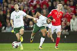 October 9, 2017 - Cardiff City, Walles, United Kingdom - Hary Arter and Cyrus Christie of Ireland with Tom Lawrence of Wales during the FIFA World Cup 2018 Qualifying Round Group D match between Wales and Republic of Ireland at Cardiff City Stadium in Cardiff, Wales, United Kingdom on October 9, 2017  (Credit Image: © Andrew Surma/NurPhoto via ZUMA Press)