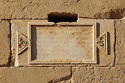 Carved Inscription on the Tower of Elahbel, burial tower, Palmyra, Syria. Ancient city in the desert that fell into disuse after the 16th century.