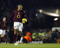 Photo: Chris Ratcliffe.<br />Arsenal v West Ham. Barclays Premiership. 01/02/2006.<br />Thierry Henry is disappointed as Arsenal go 1-0 down.