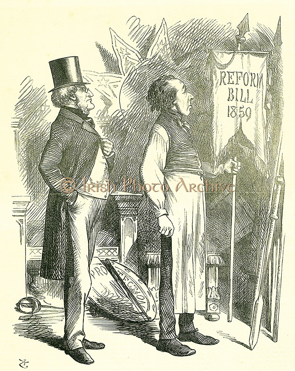 Political Economy': Reform of Parliament - extension of the franchise.  Disraeli (Chancellor) and Derby (Prime Minister) dusting off the Reform Bill. In 1867 Disraeli introduced a new  bill.   John Tenniel cartoon from 'Punch', London, 1 December 1866.