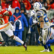 KANSAS CITY, MO - JANUARY 12: Tyreek Hill #10 of the Kansas City Chiefs gestures to the trailing Clayton Geathers #26 of the Indianapolis Colts during the third quarter of the AFC Divisional Round playoff game at Arrowhead Stadium on January 12, 2019 in Kansas City, Missouri. (Photo by David Eulitt/Getty Images)