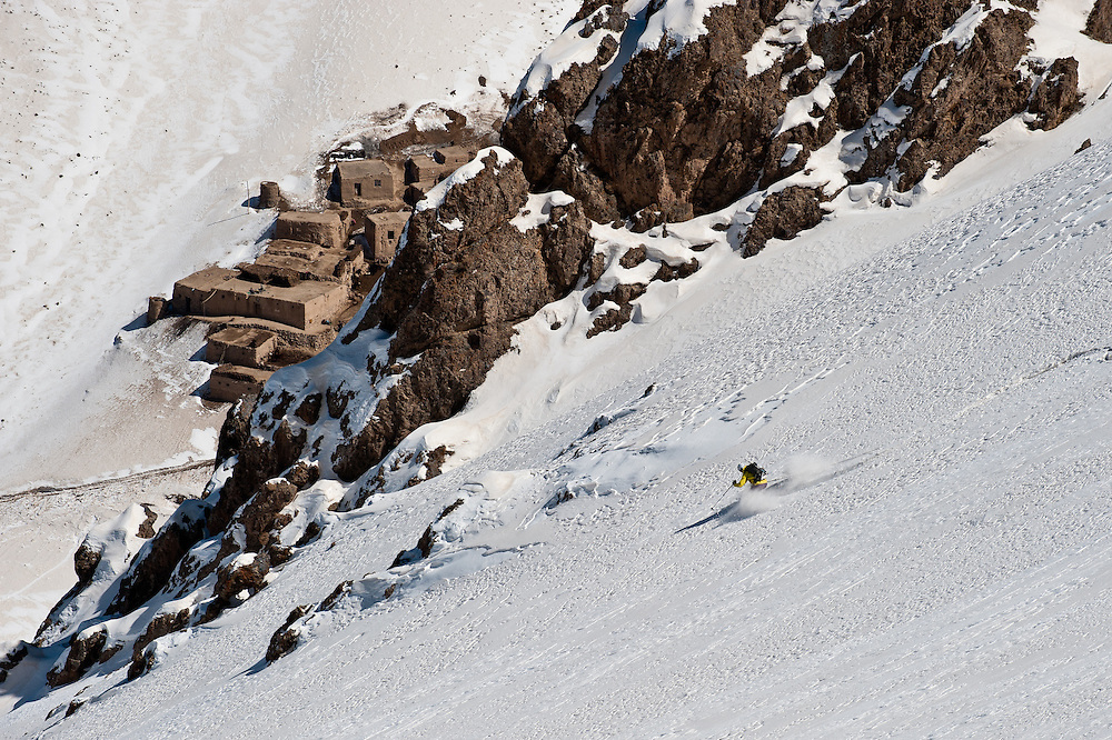 John Trousdale descends above a remote village in the Dukani Valley, south of Bamiyan City.
