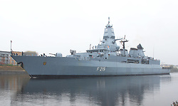 Pictured:German Navy (F219) Frigate leaves King George V Dock, Govan Glasgow heading out to take part in Joint Warrior 172 Formidable Shield Exercises.<br /> <br /> <br /> © Stephen Smyth/ EEm