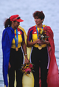 Sydney, AUSTRALIA, ROM W2- Gold medallist  DAMIAN, Georgeta and IGNAT, Doina, on the medal podium , at the 2000 Olympic Regatta, Penrith Lakes. [Photo Peter Spurrier/Intersport Images] 2000 Olympic Rowing Regatta00085138.tif