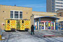 © Licensed to London News Pictures 13/02/2021. Southend, UK. Southend University Hospital A&E in Essex. Southend has 13.946 positive covid cases with 216 new cases recored in the last seven days. The government is hoping to have administered 15 million vaccinations by Monday as the Coronavirus R-rate in the UK is below one and is between 0.7 and 0.9 in all regions which is the lowest since July last year. Photo credit:Grant Falvey/LNP