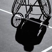 Nico Piefer makes his way on to the court before a wheelchair tennis match at marguerite tennis center in Mission Viejp, Calif., on Thursday November 3, 2016. (© Kurt Stoffer 2016/Sports Shooter Academy)