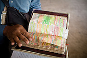 An evangelist shows his Bible. He drove over his 1 year old child when drunk 4 years ago..Nauruans are extremely fervent believers of the Christian faith...Nauru, officially the Republic of Nauru is an island nation in Micronesia in the South Pacific.  Nauru was declared independent in 1968 and it is the world's smallest independent republic, covering just 21square kilometers..Nauru is a phosphate rock island and its economy depends almost entirely on the phosphate deposits that originate from the droppings of sea birds. Following its exploitation it briefly boasted the highest per-capita income enjoyed by any sovereign state in the world during the late 1960s and early 1970s..In the 1990s, when the phosphate reserves were partly exhausted the government resorted to unusual measures. Nauru briefly became a tax haven and illegal money laundering centre. From 2001 to 2008, it accepted aid from the Australian government in exchange for housing a Nauru detention centre, with refugees from various countries including Afghanistan and Iraq..Most necessities are imported on the island..Nauru has parliamentary system of government. It had 17 changes of administration between 1989 and 2003. In December 2007, former weight lifting medallist Marcus Stephen became the President.