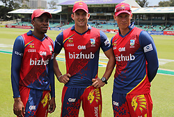 Aaron Phangiso (capt) of the Bizhub Highveld Lions with Hardus Viljoen  and Rassie van der Dussen of the Bizhub Highveld Lions during the T20 Challenge cricket match between the Lions and the Warriors at the Kingsmead stadium in Durban, KwaZulu Natal, South Africa on the 4th December 2016<br /> <br /> Photo by:   Steve Haag / Real Time Images
