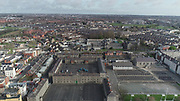 Aerial Photos of Dublin city Centre During Travel Restrictions, 3-4-20, 3rd March 2020, Covid 19, Friday Morning, Rush Hour, showing almost, Empty Streets, as people, curtail all but essential movement, Ireland, and Irish are doing their best to reduce risk to others, Collins Barracks, Church of Sacred Heart, Arbour Hill Prison, and Memorial, liffey Photos, Photo, Snap, Streets, Street,